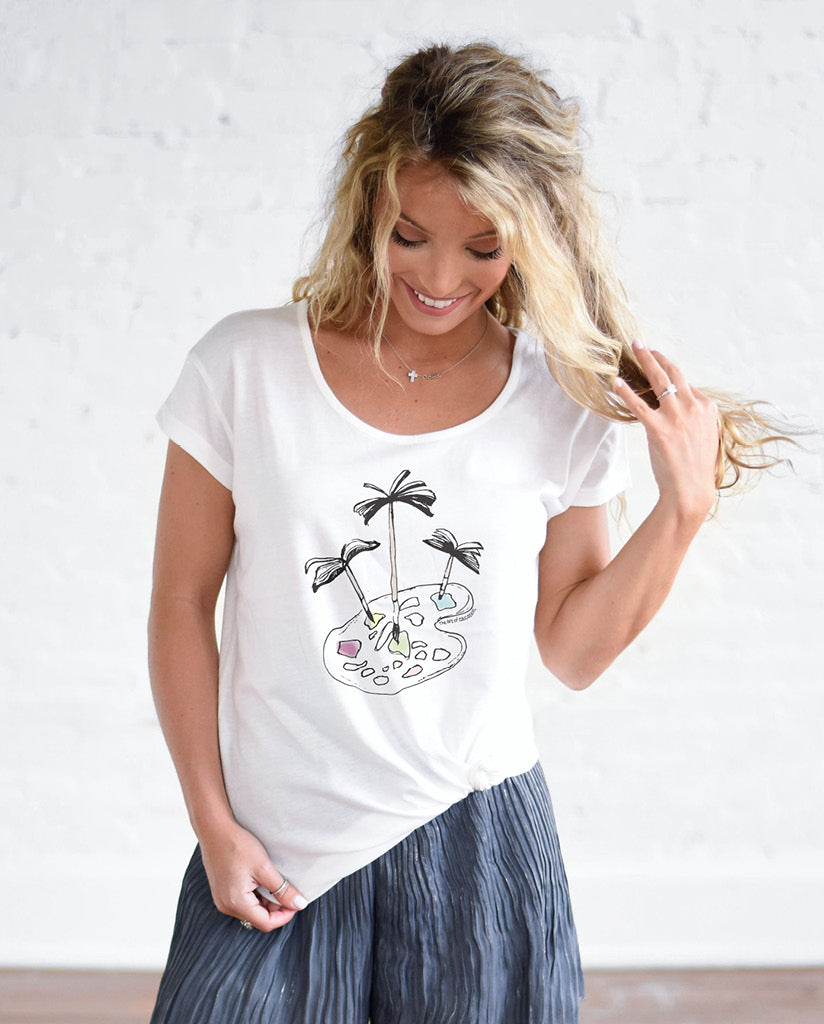 THE ART OF EDUCATION Womens White Cotton Modal T-Shirt