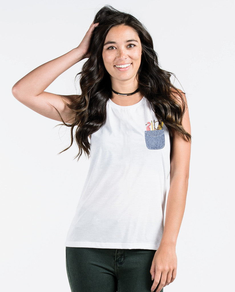 EDUCATION POCKET Womens White Muscle Tank
