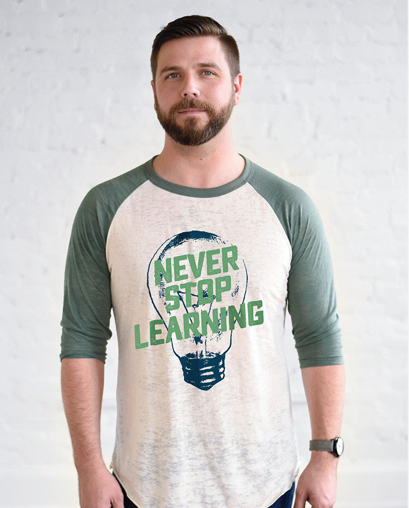 NEVER STOP LEARNING Unisex White and Green Burnout Baseball T-Shirt