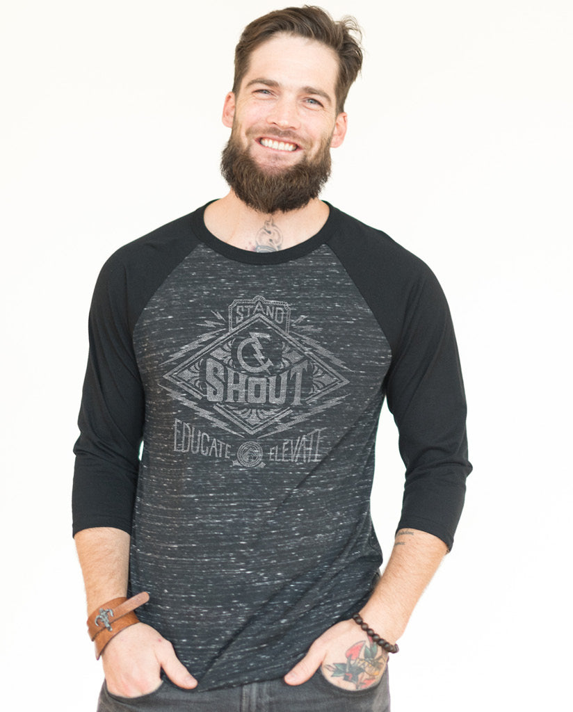STAND AND SHOUT Unisex Grey Quarter Sleeve Baseball Tee
