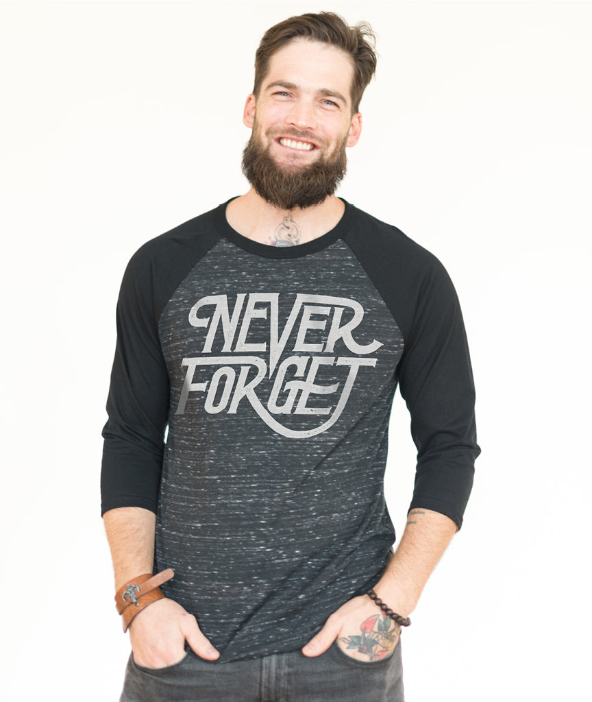 NEVER FORGET Unisex Dark Grey Quarter Sleeve Baseball Tee