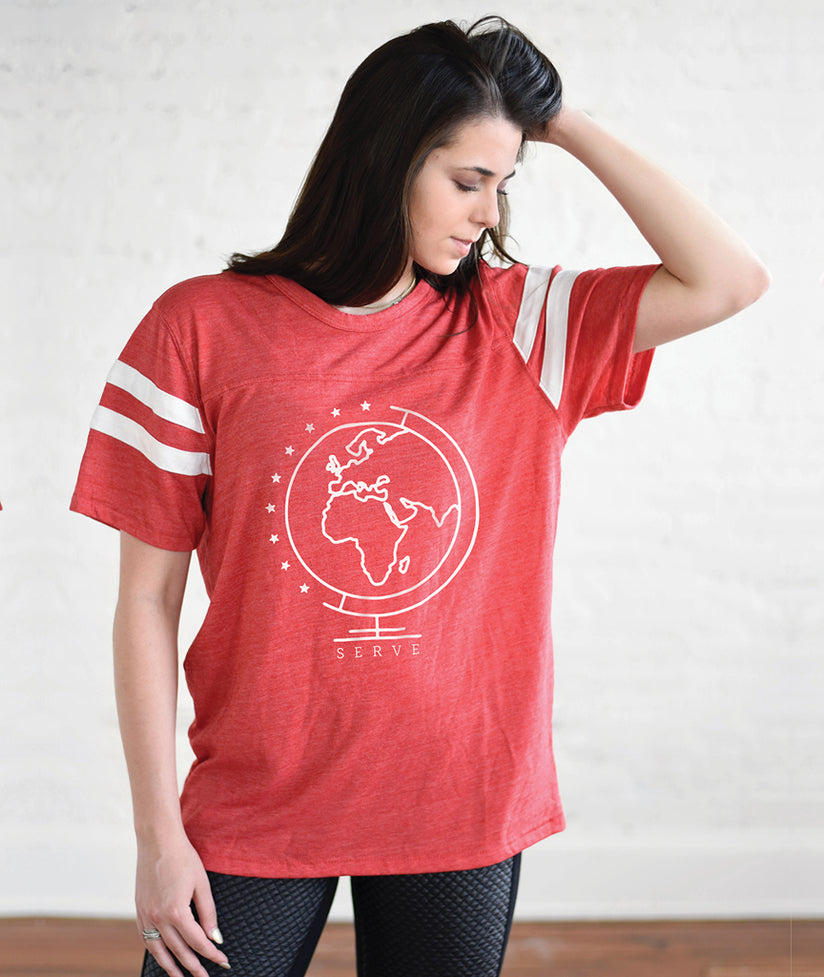 SERVE Unisex Red Eco-Jersey Football T-Shirt
