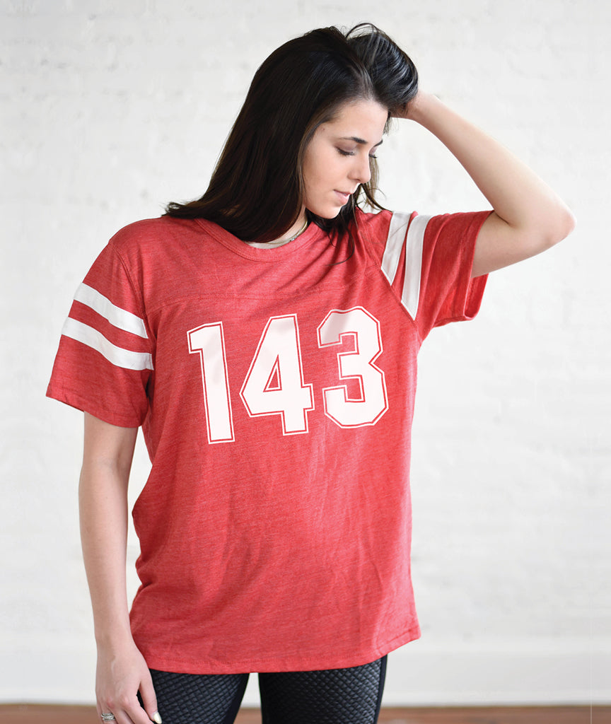 143 Unisex Red Eco-Jersey Football T-Shirt