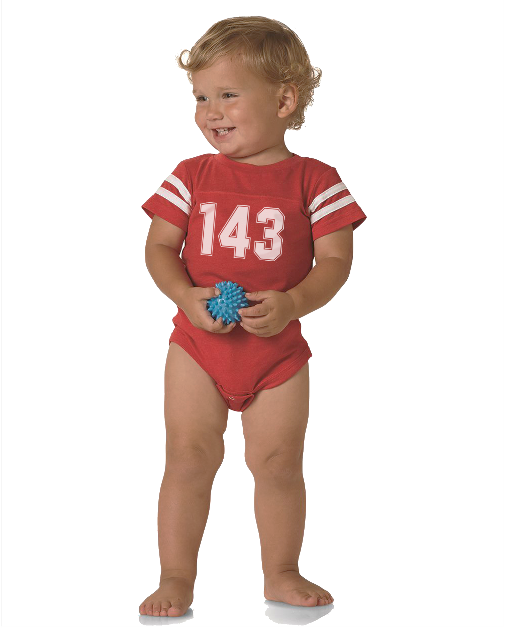 143 Baby Red Football T-Shirt Onesie
