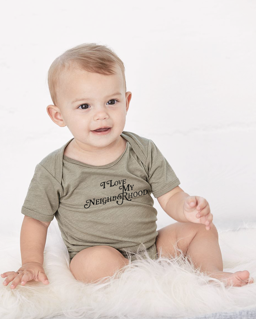 I LOVE MY NEIGHBORHOOD Baby Cozy Cotton Graphic Tee Onesie