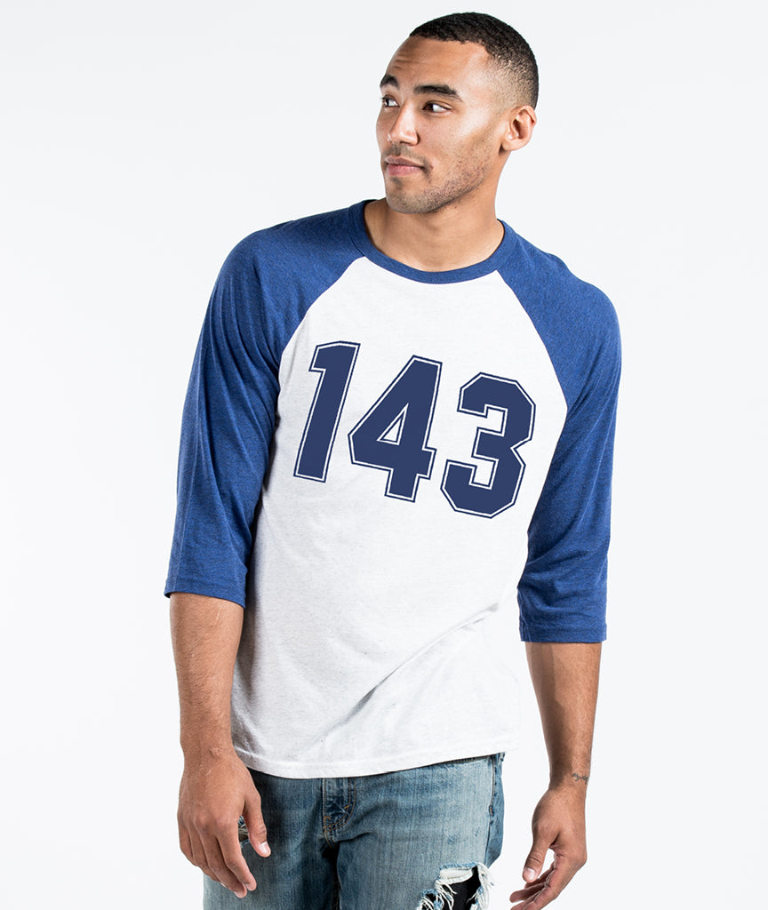 143 Unisex Blue and White Quarter Sleeve Baseball Tee
