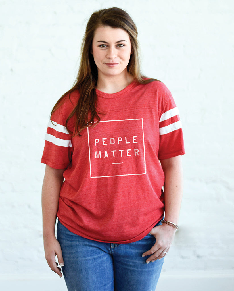 PEOPLE MATTER Unisex Red Eco-Jersey Football T-Shirt