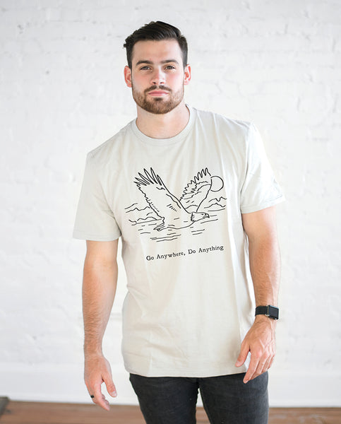 GO ANYWHERE DO ANYTHING Mens Natural Short Sleeve Tee