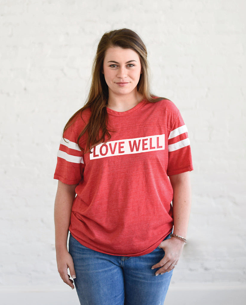 LOVE WELL Unisex Red Eco-Jersey Football T-Shirt