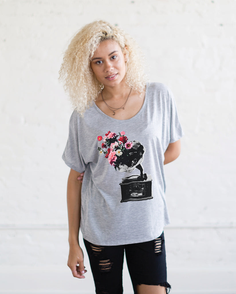 PHONOGRAPH Womens Grey Flowy Dolman