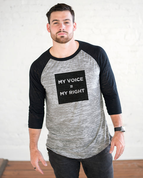 MY VOICE = MY RIGHT Unisex Burnout Baseball T-Shirt