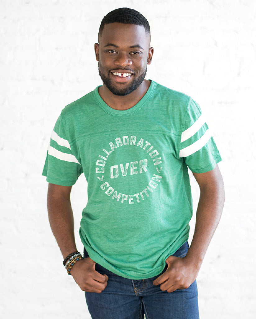 COLLABORATION OVER COMPETITION Unisex Green Eco-Jersey Football T-Shirt