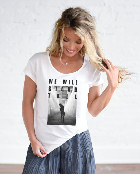 WE WILL STAND TALL Womens White Cotton Modal T-Shirt