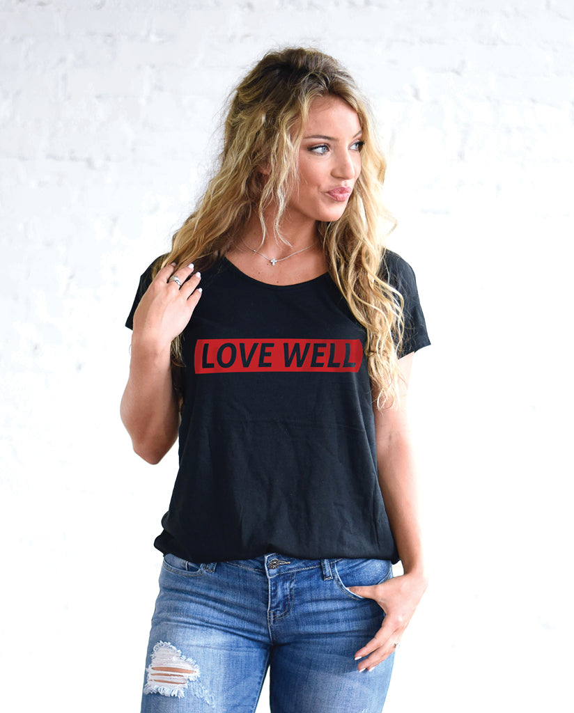 LOVE WELL - Womens Black Flowy Cotton Modal Tee