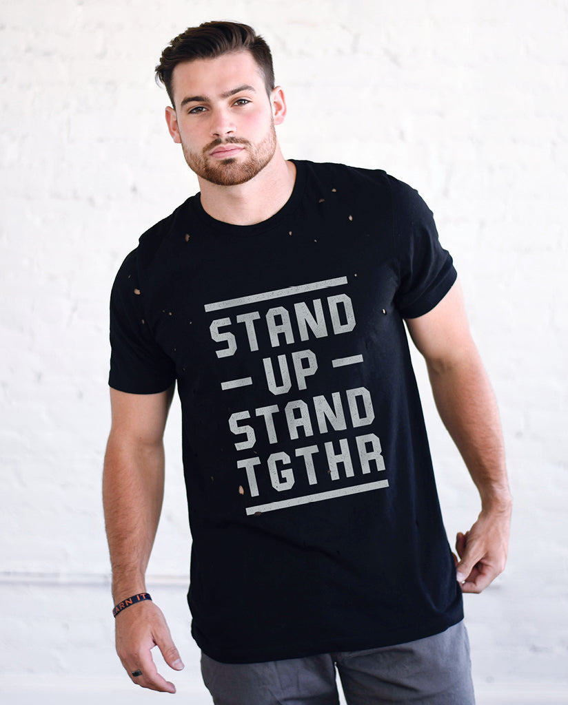 STAND UP STAND TGTHR Unisex Black Vintage Distressed Tee
