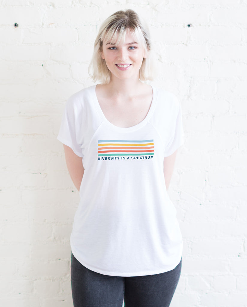 DIVERSITY IS A SPECTRUM Womens White Flowy Raglan