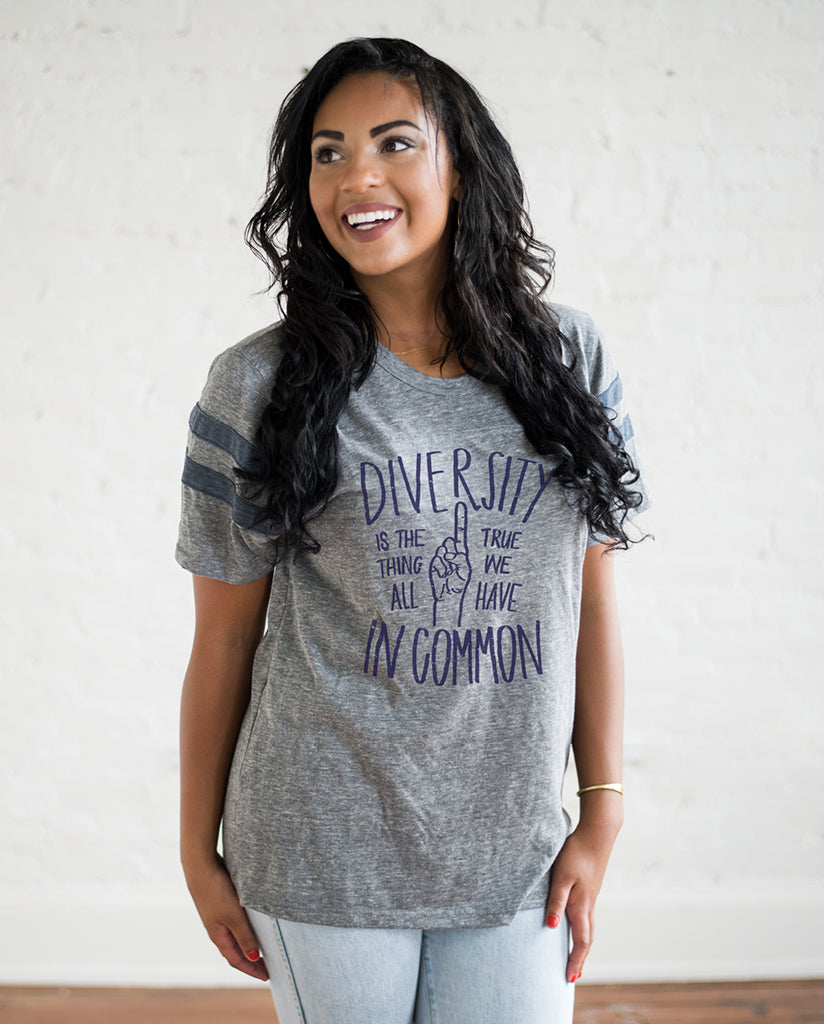 DIVERSITY IS THE ONE THING Unisex Grey Eco-Jersey Football T-Shirt