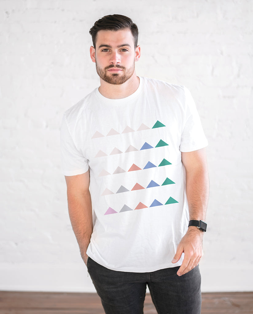 SOCIAL INCLUSION TRIANGLES Mens White Premium Fitted Tee