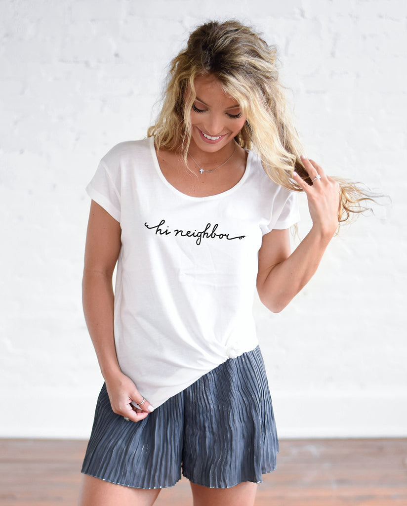 HI NEIGHBOR Womens White Cotton Modal T-Shirt