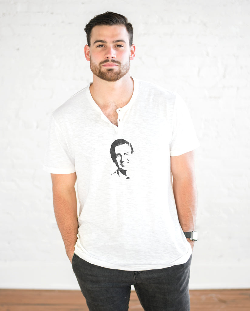 MR. ROGERS Mens White Henley Shirt
