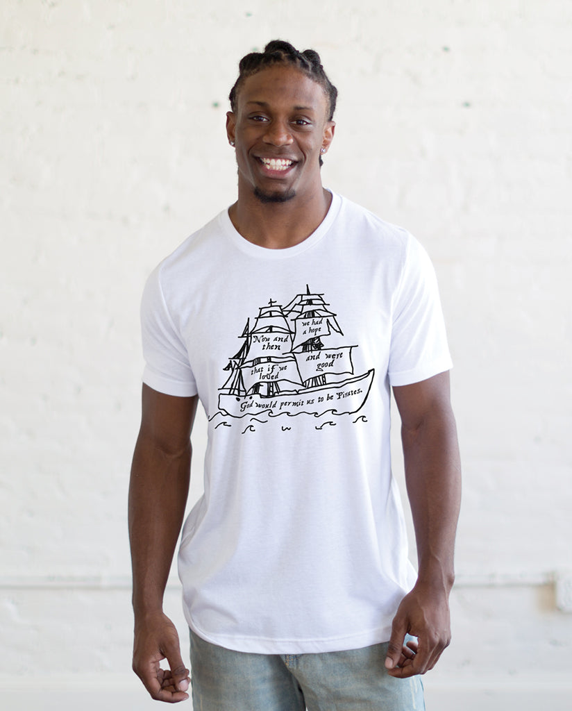 Pirate Ship Black Men's Premium Triblend White Short Sleeve Tee