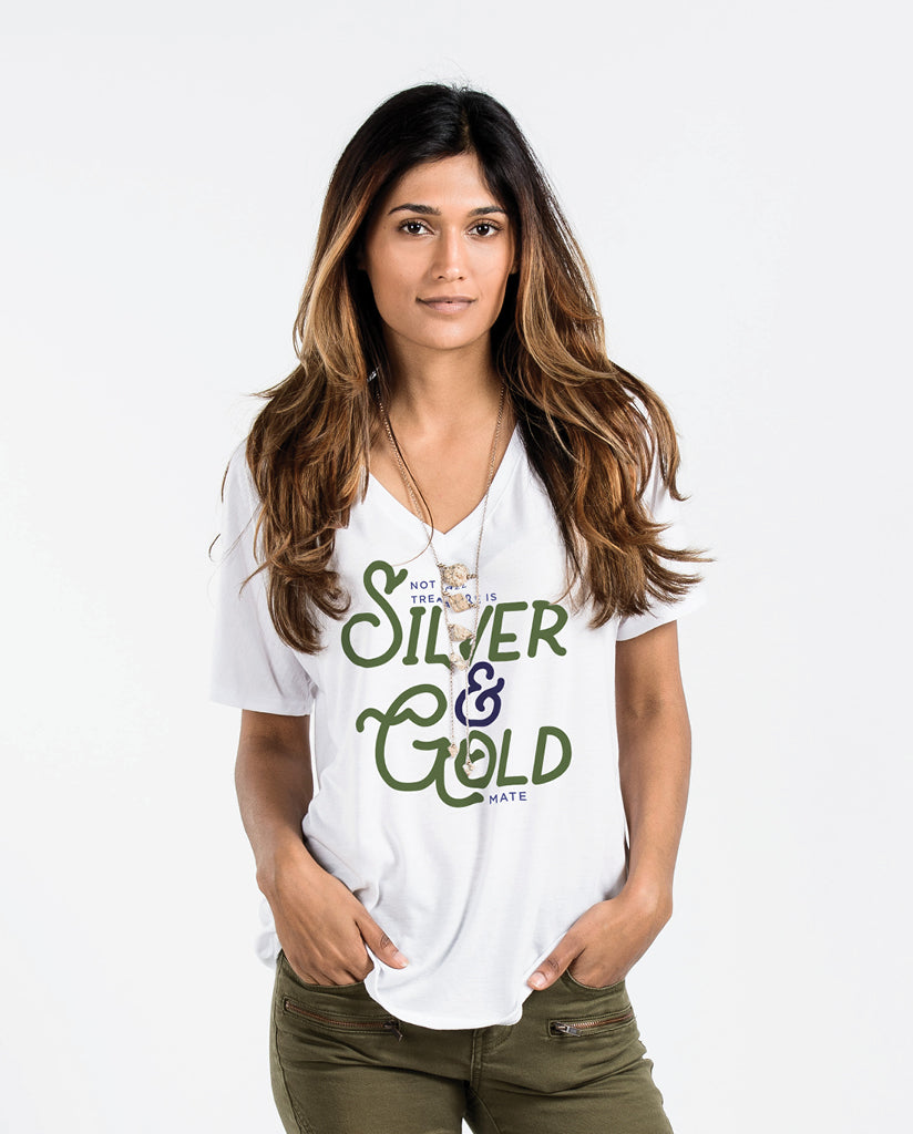 Silver & Golds Womens White Premium Slouchy Short Sleeve V-Neck Tee