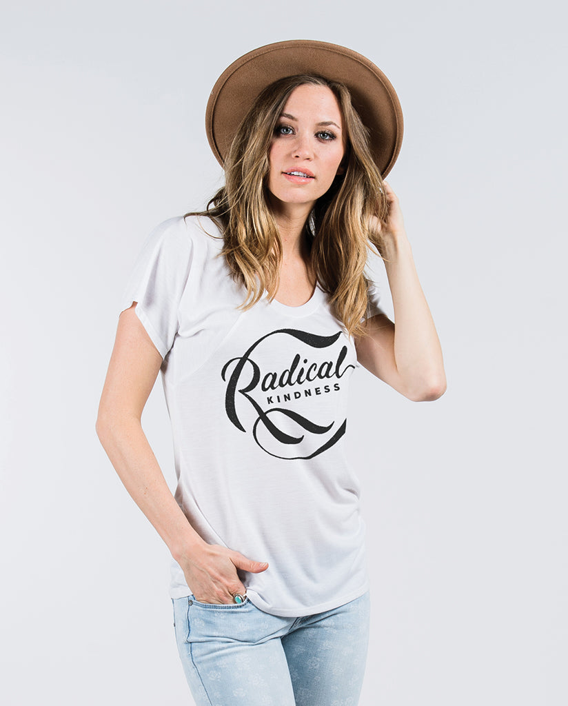 RADICAL KINDNESS Womens White Flowy Raglan