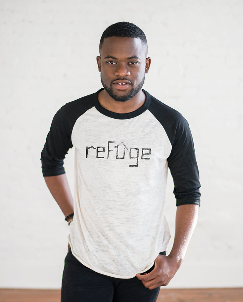 REFUGEE Unisex White/Black Burnout Baseball T-Shirt