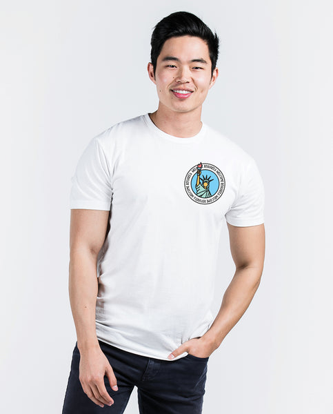 WELCOME REFUGEES Mens White Premium Fitted Tee