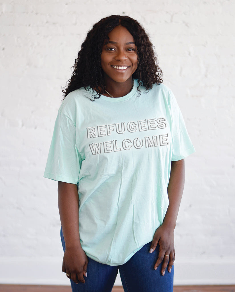REFUGEES WELCOME Unisex Mint Short Sleeve Tee