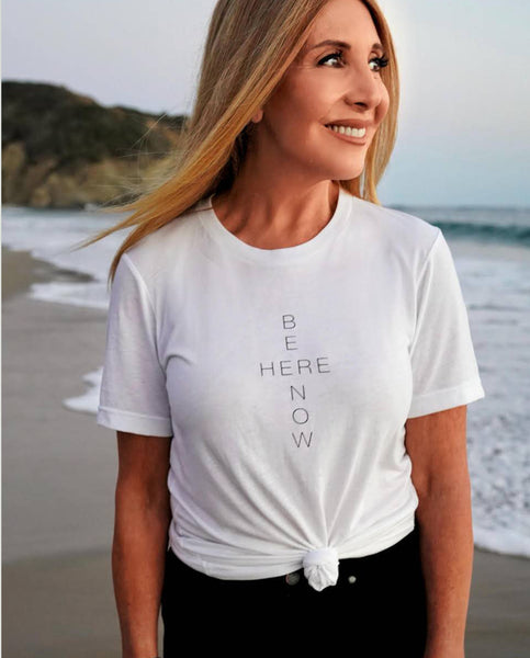BE HERE NOW Unisex White Triblend Short Sleeve Tee