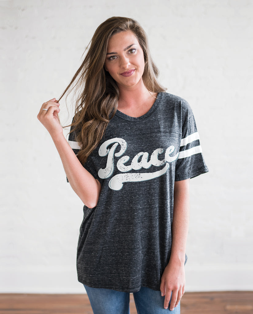 PEACE Unisex Grey Eco-Jersey Football T-Shirt by Tech Wellness