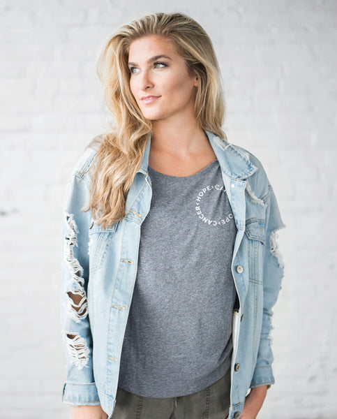 HOPE > CANCER Womens Grey Flowy Dolman