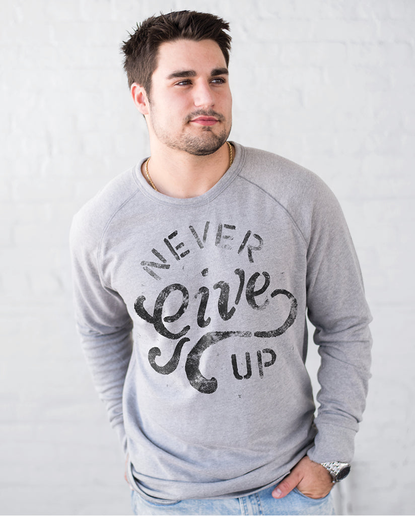 NEVER GIVE UP Unisex Grey Heavy Knit Pullover Sweater