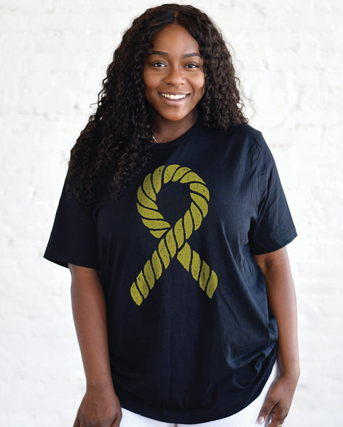 ROPE RIBBON Unisex Navy Triblend Short Sleeve Tee
