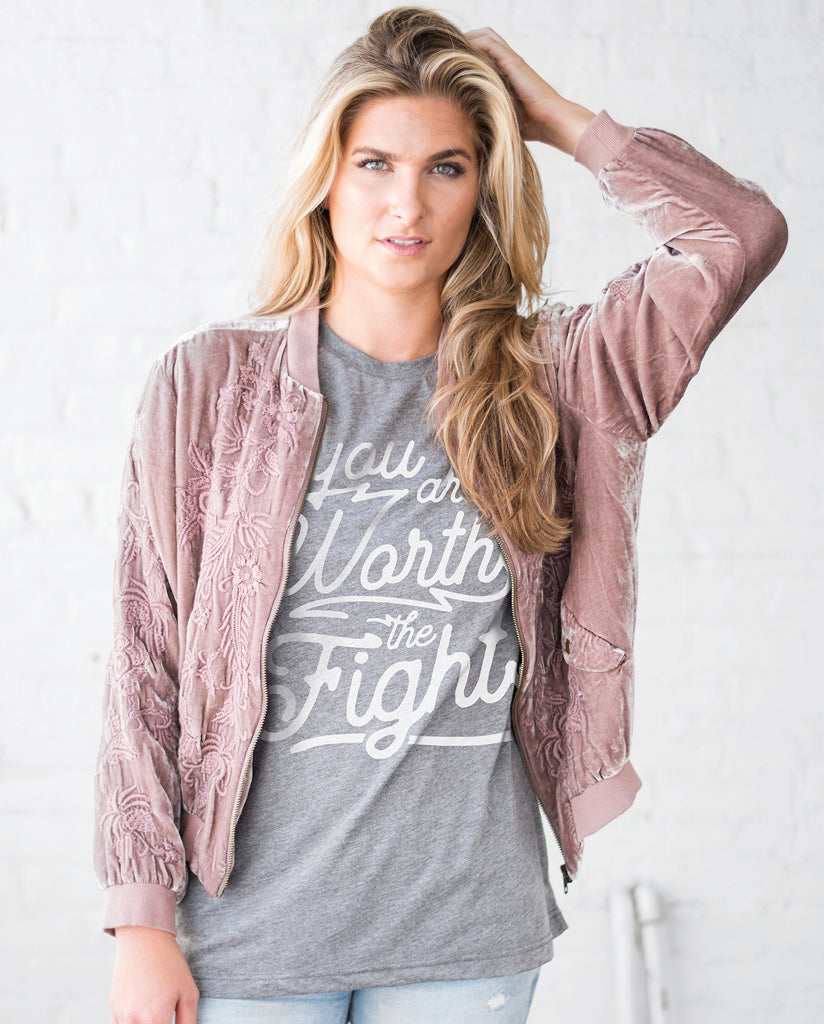 YOU ARE WORTH THE FIGHT Unisex Grey Triblend Short Sleeve Tee