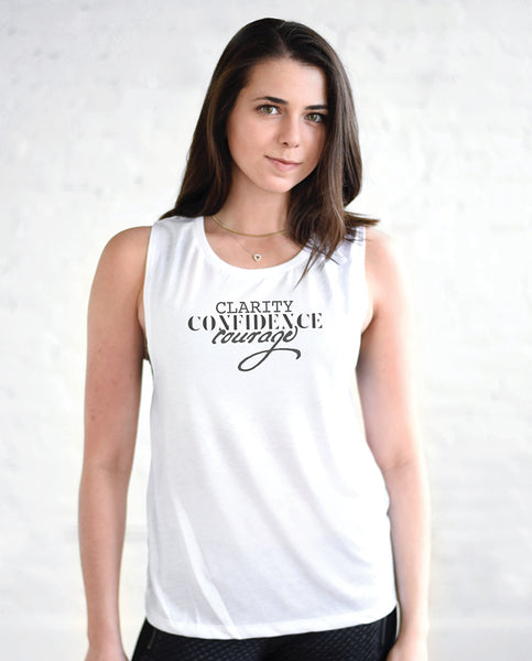 CLARITY CONFIDENCE COURAGE Womens White Muscle Tank