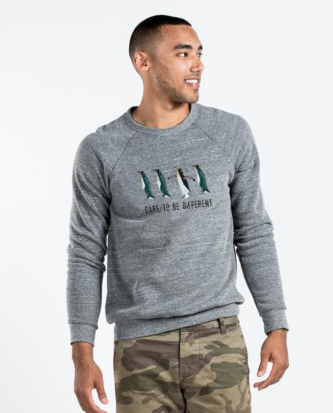 Dare To Be Different - Men's Premium Grey Crew Neck Sweatshirt