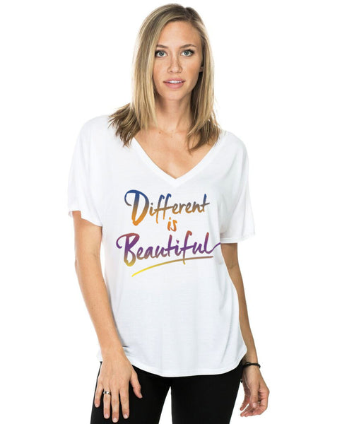 Different Is Beautiful Flowy V Neck