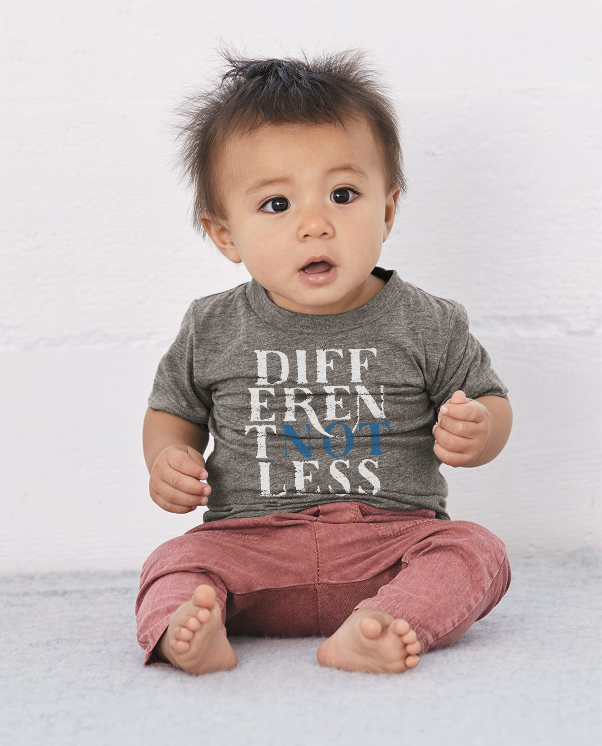 Different not less toddler baby triblend short sleeve tee