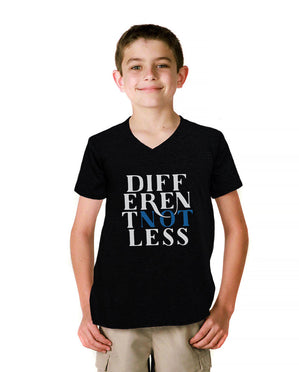 Different Not Less Youth Jersey Short Sleeve V Neck Tee