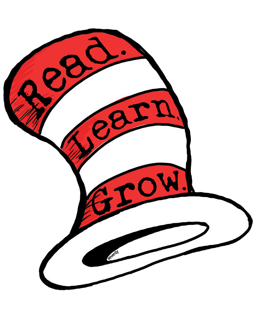 Dr. Hat Read Learn Grow White Unisex White Short Sleeve Triblend Tee