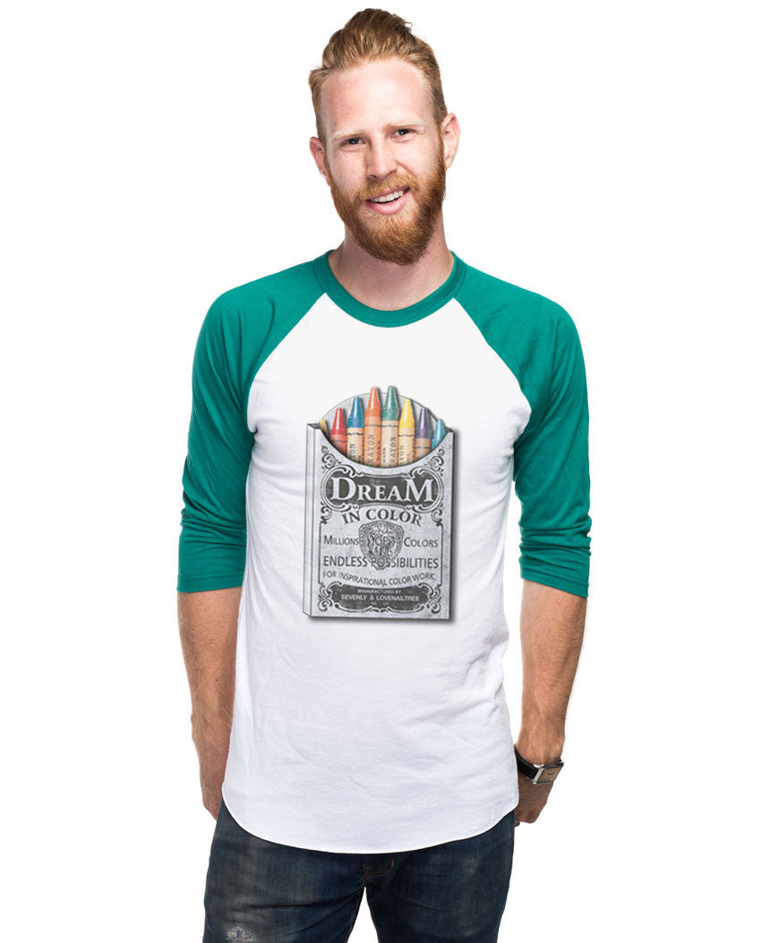 Dream In Crayola Mens Baseball Tee