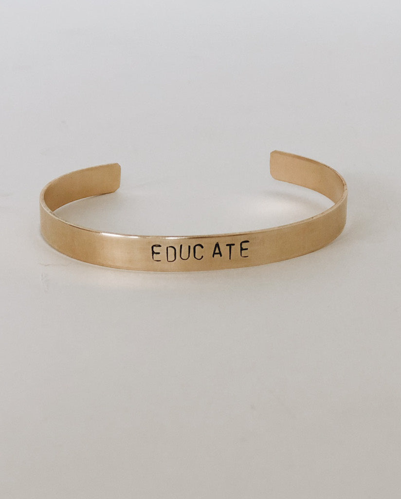 EDUCATE Hand-Stamped Brass Cuff