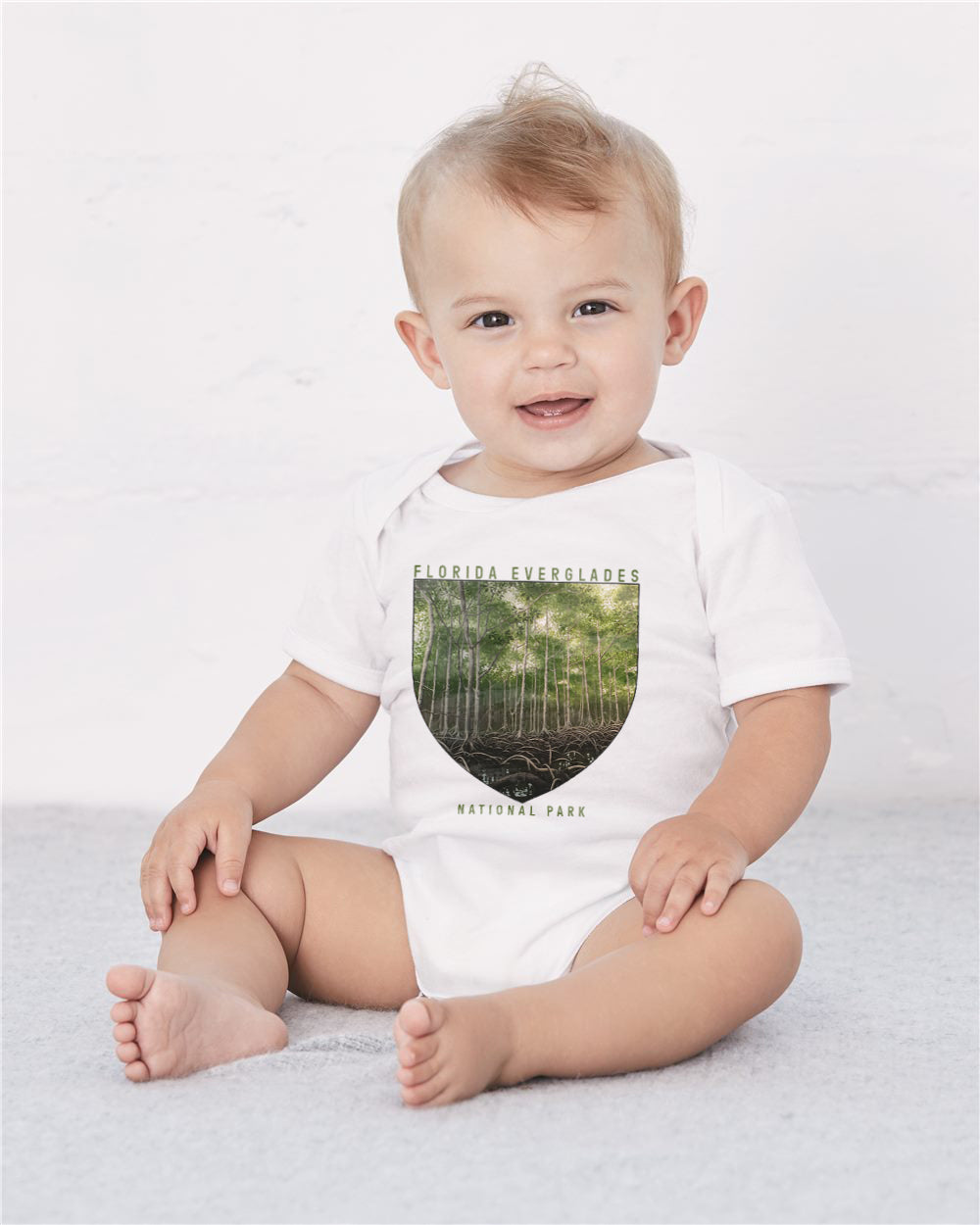 Florida Everglades National Park Baby Cozy Graphic Tee Onesie in White