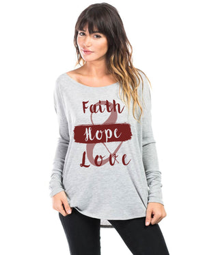 Faith Hope and Love Flowy Long Sleeve Tee