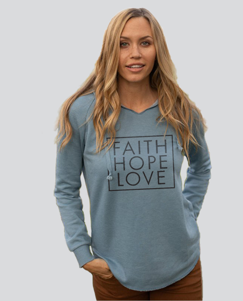 Faith Hope Love Square - Women's Midweight Pigment Dyed Raglan Hoodie