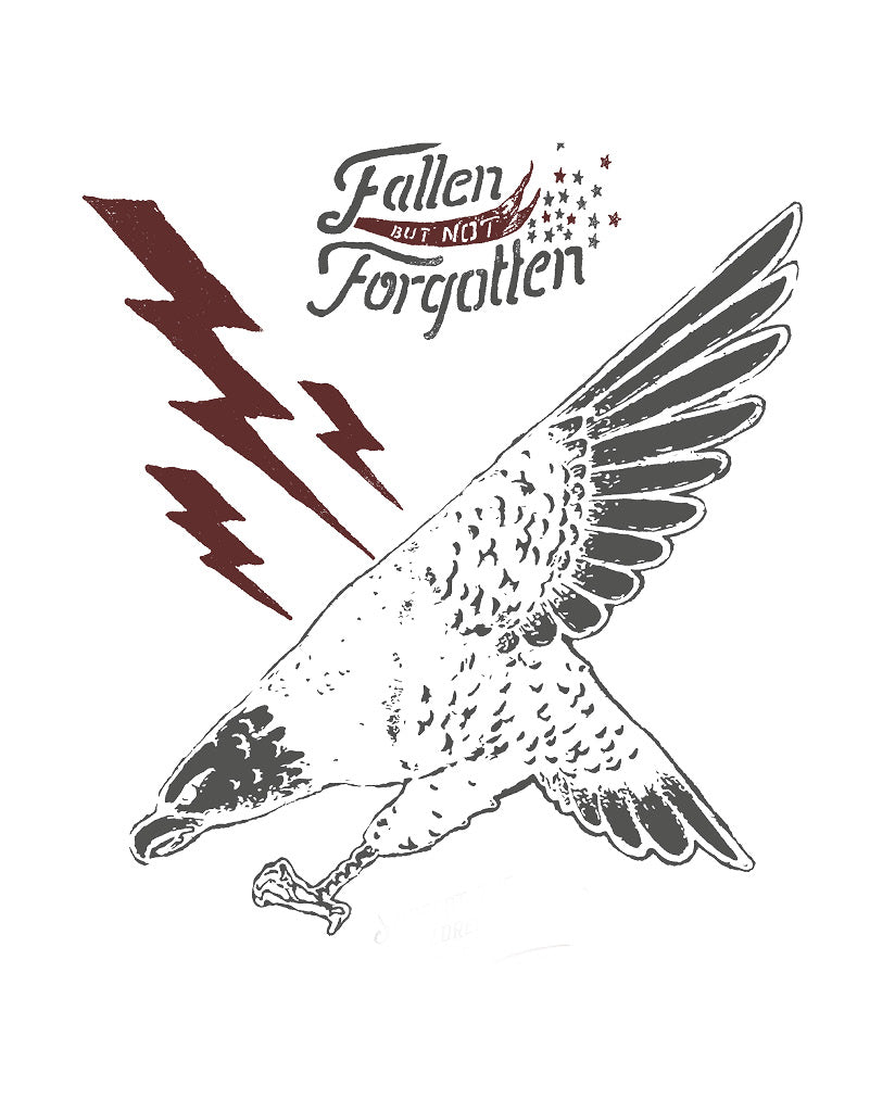 FALLEN NOT FORGOTTEN Mens Grey Premium Tee