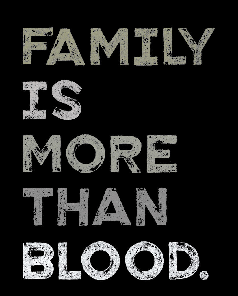 FAMILY IS MORE THAN BLOOD Triblend Unisex Grey Hooded Long Sleeve T-shirt