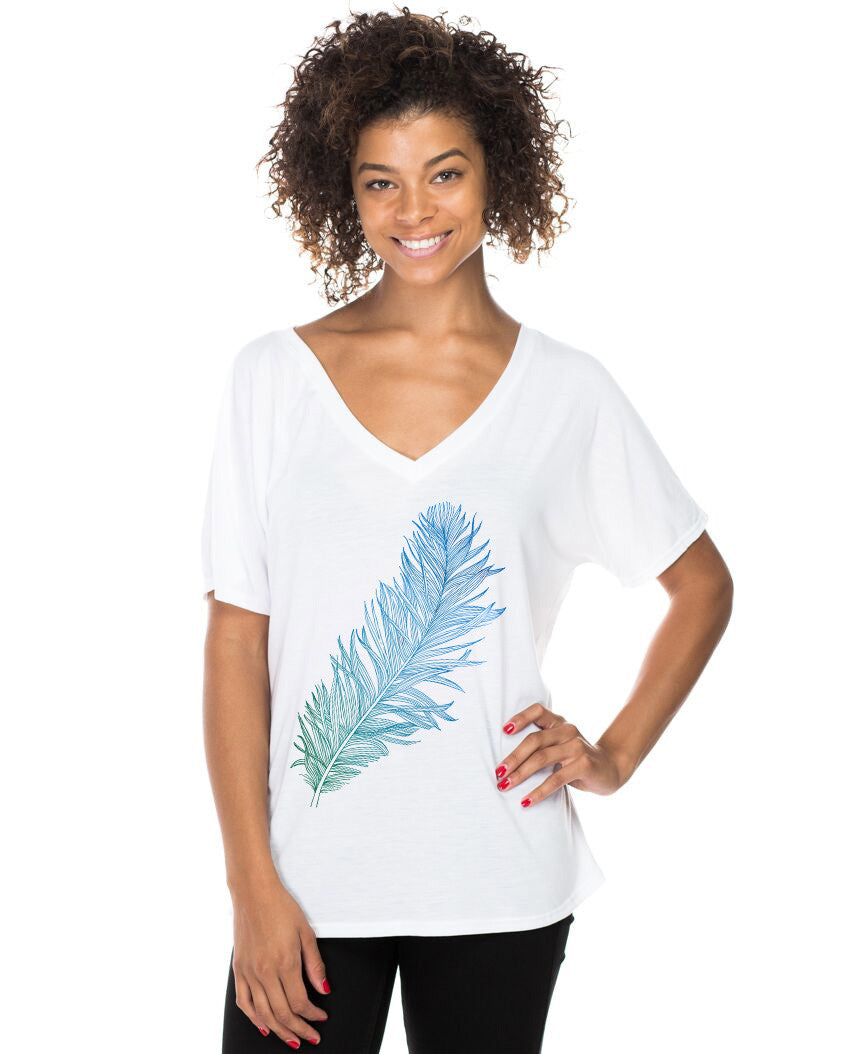 Feather Flowy V Neck